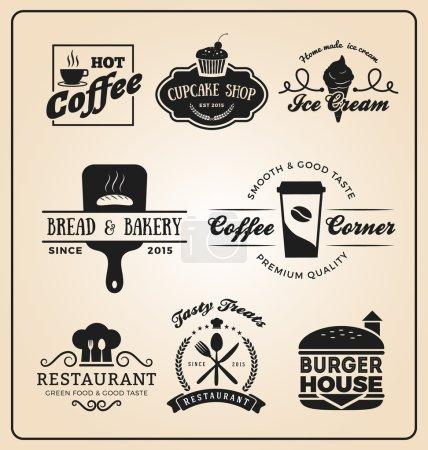 Photo pour Insignes alimentaires et boissons logo pour étiquette, autocollant, impression, conception de bannière. Illustration vectorielle - image libre de droit