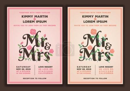 Illustration pour M. et Mme titre avec modèle d'invitation de mariage de fleurs. Illustration vectorielle d'invitation de mariage couleur pêche et vieille rose - image libre de droit