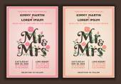 Mr and Mrs title with flower wedding invitations template