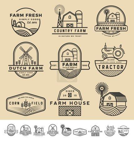 Set of vintage and modern farm badge logo