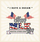 Martin luther king day greeting card with cross USA flag