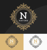 Vintage monogram logo template with circle frame and flourishes line ornament Design with letter for cafe tags labels shop store restaurant boutique resort spa hotel fashion and etc