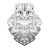 Black and white animal Cat head abstract art tattoo doodle sketch