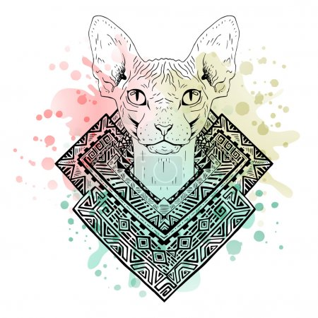 Illustration for Black and white animal Cat head, watercolor abstract art, tattoo, doodle sketch. Sphynx cat. Outlines of pet. Design for t-shirt, bag, jacket, package, phone case and so on. Vector illustration. - Royalty Free Image