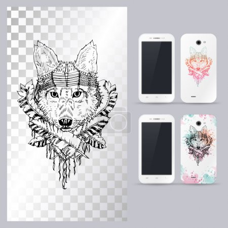 Illustration for Black and white animal dog head, boho style, abstract art, tattoo, doodle sketch. Outlines of wild wolf.  Vector illustration for phone case. - Royalty Free Image