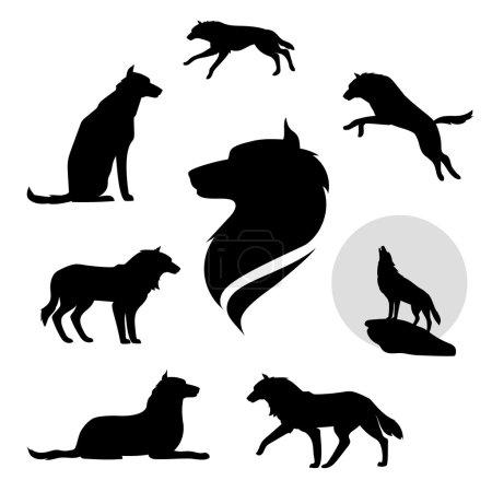 Illustration pour Ensemble loup de silhouettes noires. Icônes et illustrations d'animaux. Modèle d'animaux sauvages - image libre de droit