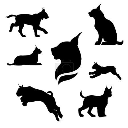 Illustration pour Ensemble Lynx de silhouettes noires. Icônes et illustrations d'animaux. Modèle d'animaux sauvages - image libre de droit