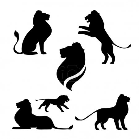 Illustration for Lion set of black silhouettes. Icons and illustrations of animals. Wild animals pattern - Royalty Free Image