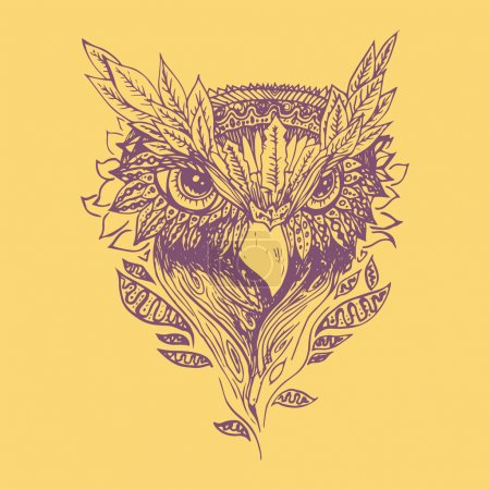 Illustration for Purple owl on yellow background. Engraving sketch. Abstract vector bird with leaves. Print for t-shirt. Wild things - Royalty Free Image