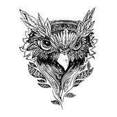 Black and white owl isolated Engraving sketch Abstract vector bird with leaves Print for t-shirt Wild things