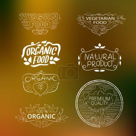 Set of logos vegetarian food, organic food, vegan food. Collecti