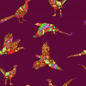 Seamless pattern of bird pheasant vector silhouettes