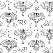 Cartoon pattern with monsters angel and yo