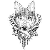 Abstract graphic wolf print