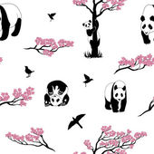 Seamless vector pattern of sakura tree and panda Texture with twigs of a tree birds and animals