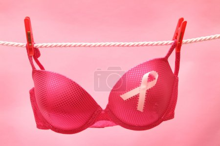 Breast Cancer Awareness Ribbon on bra