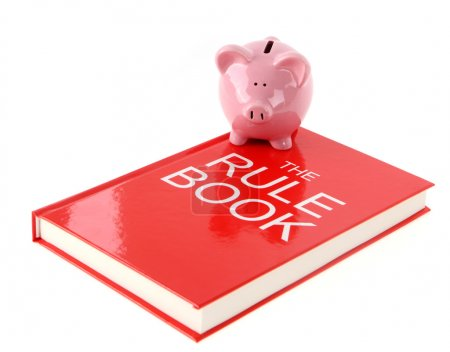 Piggy bank with rule book