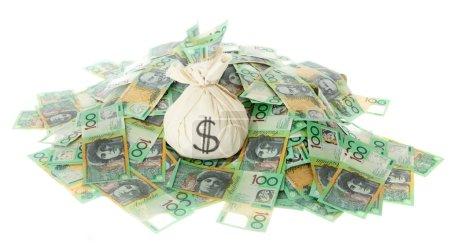 Australian Money with money bag