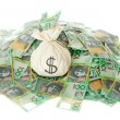 Australian Money with money bag isolated on white...
