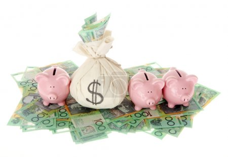Australian Money bag with pink piggy banks isolate...