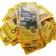 Australian money banknotes isolated on white...