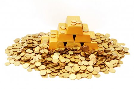 Pile of Gold ingots with gold coins