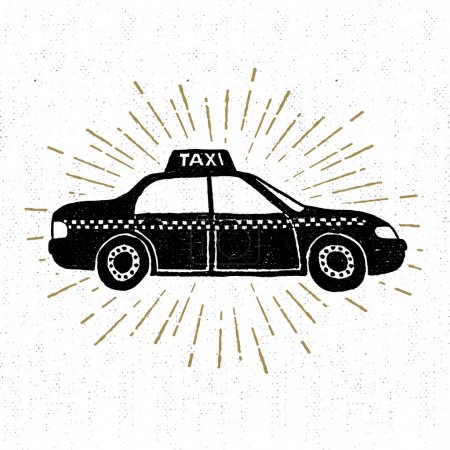 Hand drawn vintage icon with taxi vector illustration
