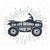 Hand drawn textured label with quad bike vector illustration and