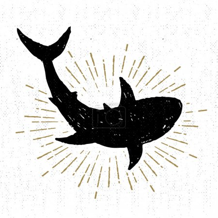 Hand drawn textured icon with shark vector illustration
