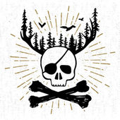 Hand drawn vintage icon with a textured skull and bones vector illustration