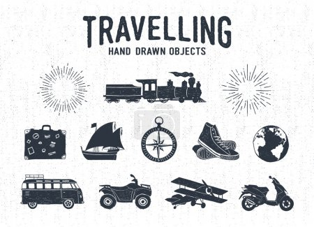 Hand drawn textured vintage travel icons set.