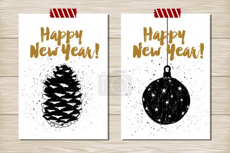 New Year cards set.
