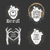 Romantic posters with human heart skeleton hands gramophone ho