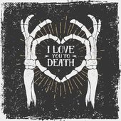 Romantic poster with skeleton hands forming a heart