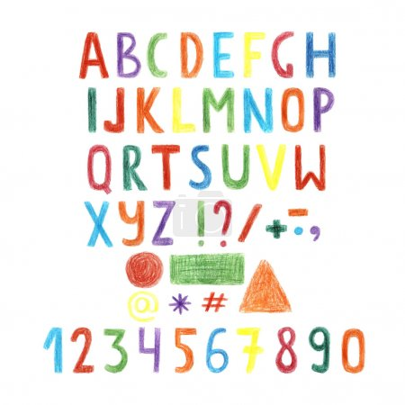 Colorful letters, alphabet, numbers