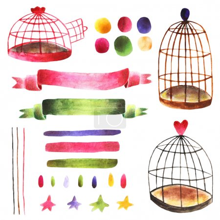 Photo for Watercolor cute hand drawn design elements collection including bird cages, ribbons, drops, spots, stripes, stars. Design elements for cards, brochures, covers - Royalty Free Image