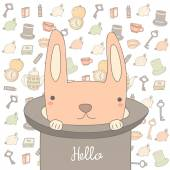 Cute hand drawn doodle hello postcard with key hat rabbit watch cup with tea book Positive motivating card cover background
