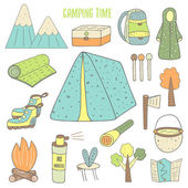 Cute camping objects collection