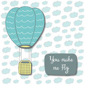 Cute hand drawn doodle postcard with clouds air balloon and text space
