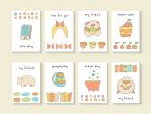 Cute hand drawn doodle cards