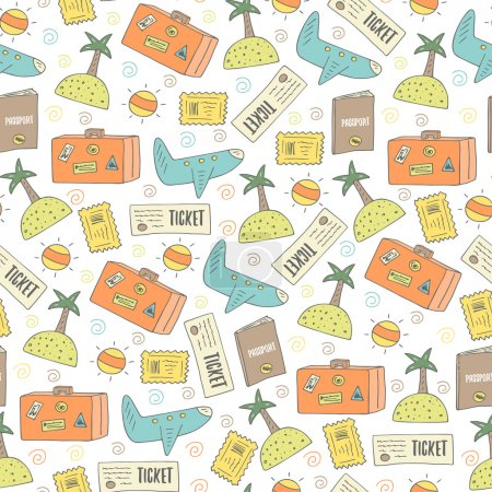Cute travel seamless pattern