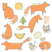 Cute foxes and forest objects collection