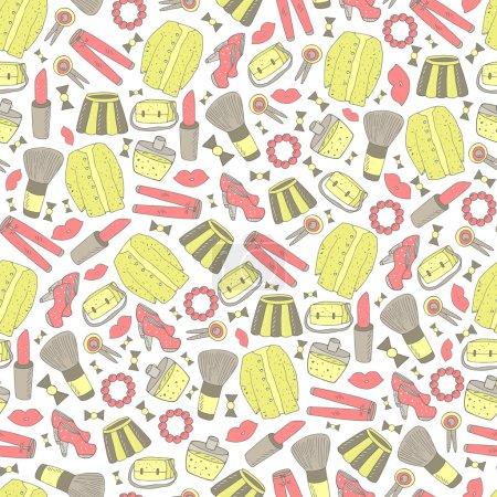 Cute doodle girl fashion seamless pattern.