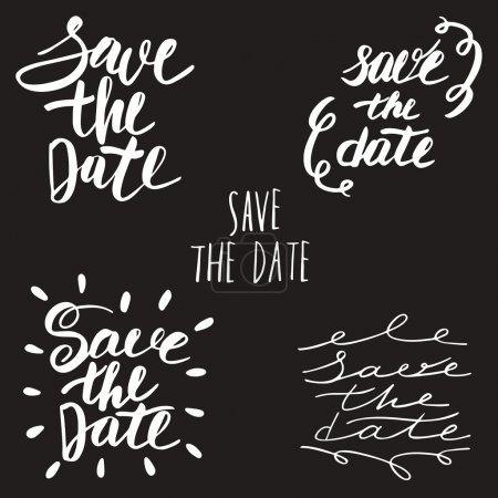 Illustration for Hand drawn lettering save the date logos. Banners for wedding, engagement, birthday, holiday - Royalty Free Image