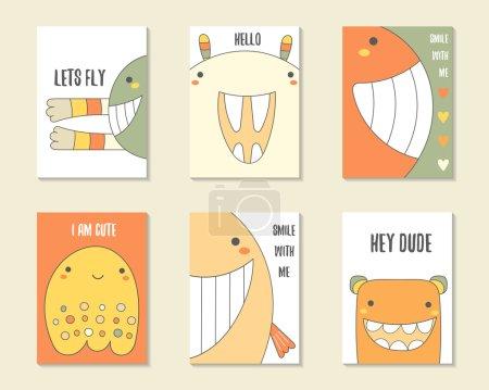Illustration pour Jolie main dessinée anniversaire doodle, cartes de fête, brochures, invitations avec des monstres, créatures drôles, lapin, baleine, fantôme. Personnages de bande dessinée fond. Ensemble de modèles imprimables - image libre de droit