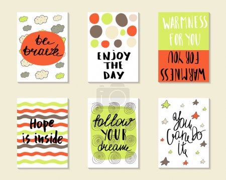 Cute hand drawn doodle postcards, cards