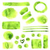 Green grunge style watercolor spots