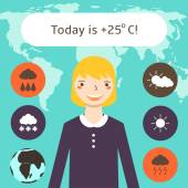 Cute flat style weather forecast background with pretty blonde woman
