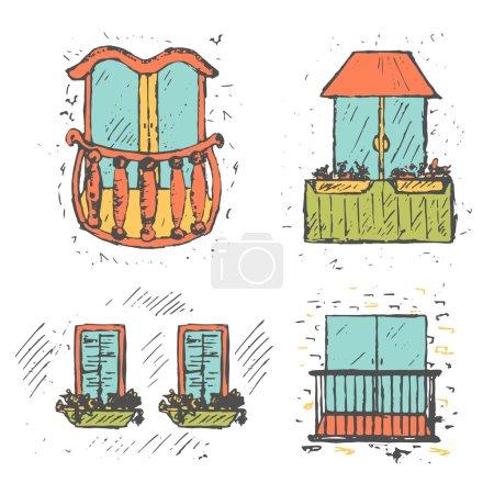 Cute european hand drawn sketch balcony collection