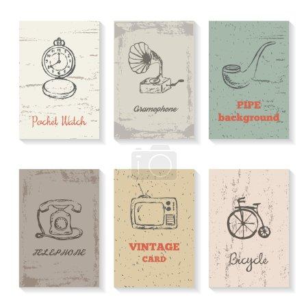 Set of six vintage cards